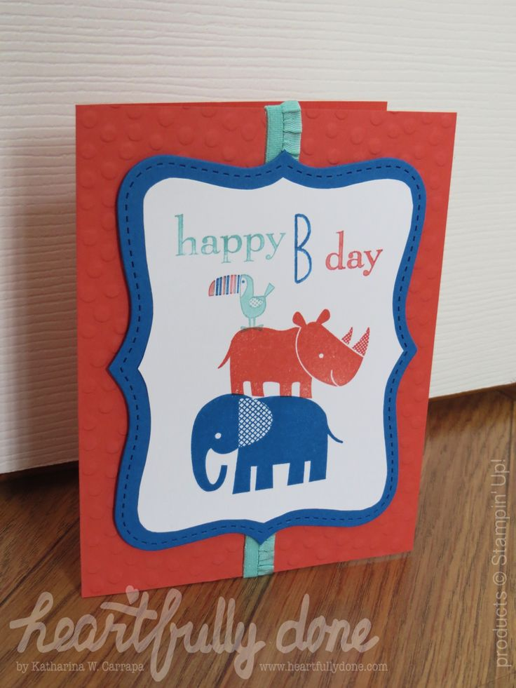 "Kids birthday card ""happy B-day"". I used the elephant, rhino and toucan from the stamp set ""Zoo Babies"" by Stampin' Up! The animals are stamped in a multi-color image. The cardstock is embossed with dots."