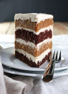 Pumpkin & Chocolate Layer Cake with Whipped Brown Sugar Frosting brings two different cakes together resulting in a beautiful union.