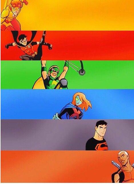 The Teams: Kid Flash, Robin, Artemis, Miss Martian, Superboy, and Aqualad