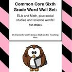 6th grade common core word wall cards or flash cards all 4 subjects, and over 150 words! Other grades available too