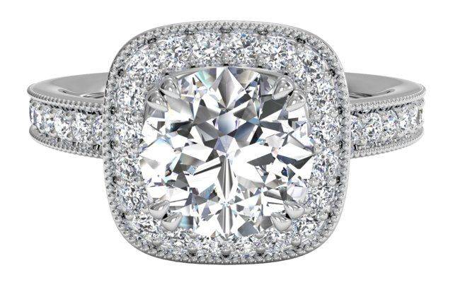 Vintage Cushion Halo Diamond Band Engagement Ring with Surprise Diamonds - in Palladium (0.41 CTW)