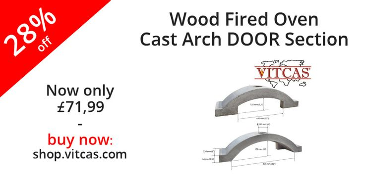 The oven cast section is the same size at each end as the Vitcas 64mm fire bricks and the radius of the arc is 250mm. The arch closes in on one side to match with the VITCAS cast doors.  Now 28% off. Buy now: http://shop.vitcas.com/wood-fired-oven-cast-arch-door-section-vitcas-1146-p.asp