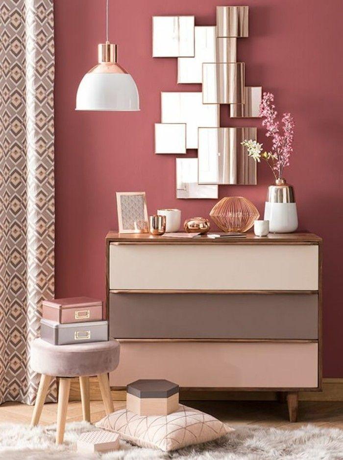 Fresh deko tipps spiegel rosa blume lampe schrank hocker