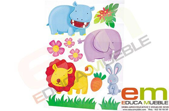 Pegatinas infantiles decorativas animales selva - Tienda Educamueble