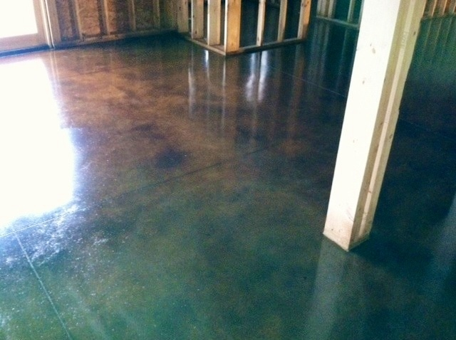 Acid Wash Basement Floor. Inexpensive. Easy Clean Up But Not So Great For  Little
