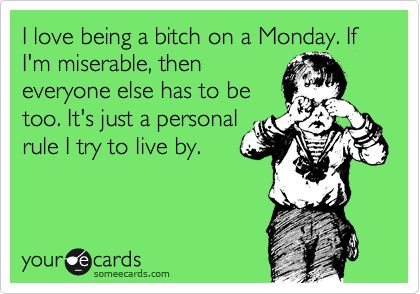 i love being a bitch on a monday. if i'm miserable, then everyone else has to be too. it's just a personal rule i try to live by