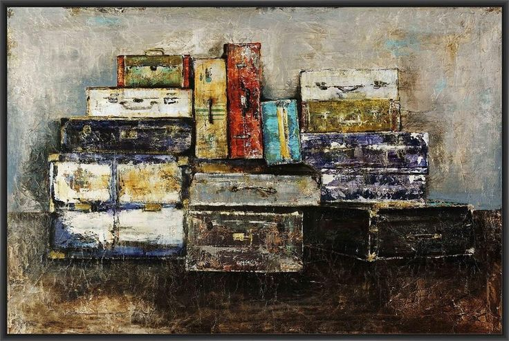 'Baggage Claim' 22L X 28H Floater Framed Art Giclee Wrapped Canvas