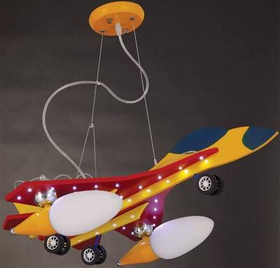 Uçak 2′li ve Led Işıklı Kırmızı Renkli Çocuk Odası Avizesi