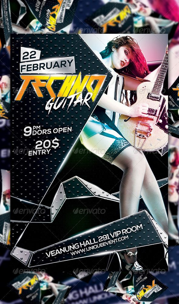 Techno Guitar Flyer Template