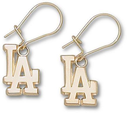Los Angeles Dodgers 1 2in La Dangle Earrings 14kt Gold Jewelry Go Blue Or Home Pinterest Dodgerlb Merchandise