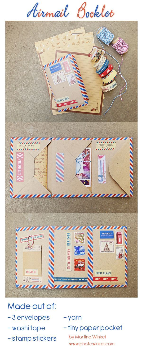 Airmail themed envelope booklet.