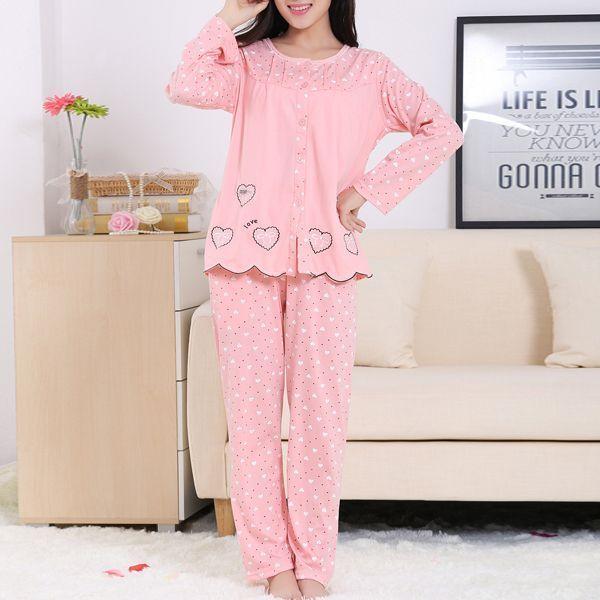 20e1c0836f Fashionara sleepwear woman cozy heart printing soft antibacterial  breathable long sleeve sleepwear sets  clementine