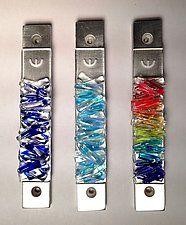 "Woven Clear Lines Mezuzah by Alicia Kelemen (Art Glass Mezuzah) (4.75"" x 0.75"")"