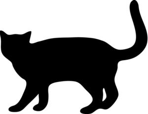 For my quilt label? - Cat Silhouette Clipart Image: Cat Walking with Tail up in a Silhouette