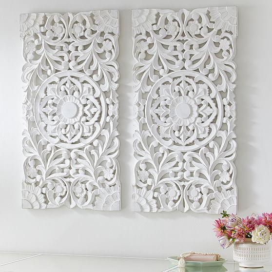 Lennon & Maisy Ornate Wood Carved Wall Art, Set of 3   PBteen