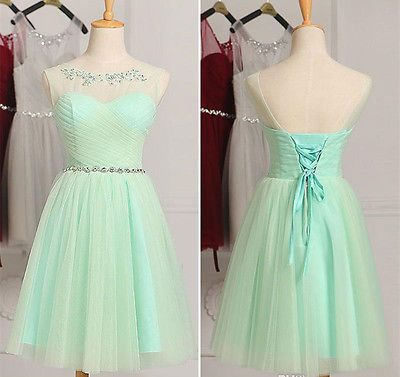 Short Tulle Bridesmaid Dresses Casual Party Prom Cocktail Formal Wedding Gowns