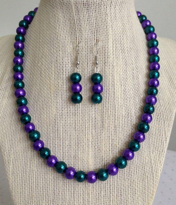 Pfau Hochzeit Schmuck lila und blaugrün von CherishedJewelryCo, 22,00 $ #peacockwe …   – Kette