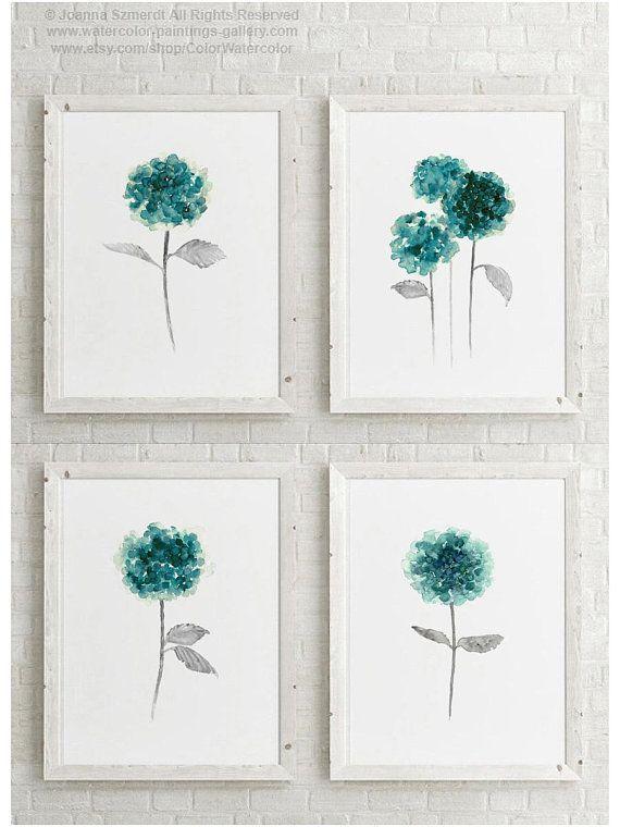 Half Moon Art Print Set 2 Canvas Watercolour Paintings Turquoise