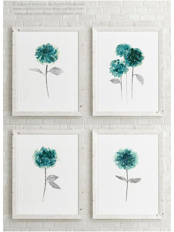 Hydrangea Painting Flower Set 4 Flowers Aquarelle Art Print