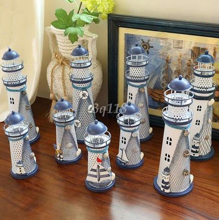 Fashion Creative Led Lighthouse Candlestick Cabinet Ornament Home Decor Gift