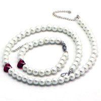 SE3221SWPOC Oceľový set s perličkami a Swarovski srdiečkami