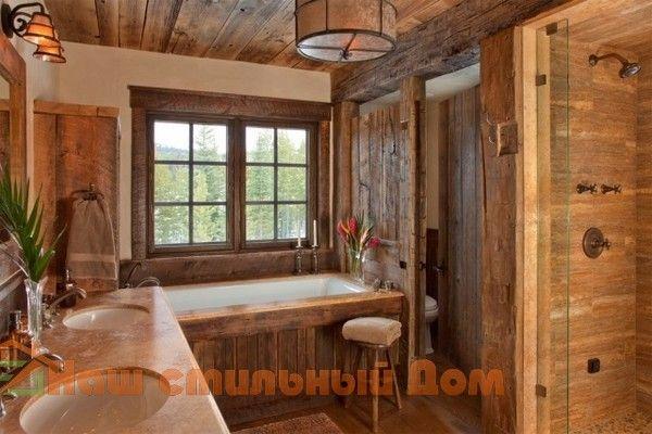 Деревенский декор в ванной комнате