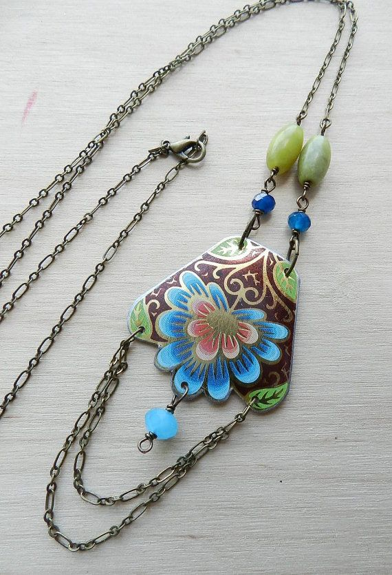Peacock vintage tin long necklace by giftworldz on Etsy