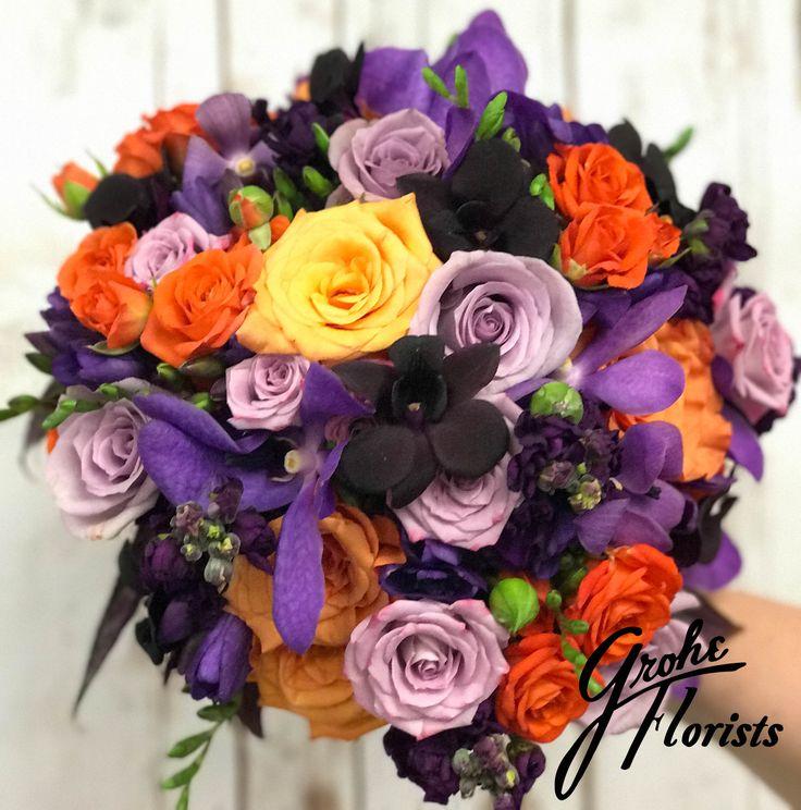 purple and orange flowers purple roses orange roses #roses #rose #lilies #lily #orange #purple #lavender #orchids #bouquet #wedding #flowers