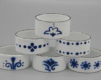 Vtg Scandinavian Enamel Napkin Rings Set of 6 Nordic Design Blue and White