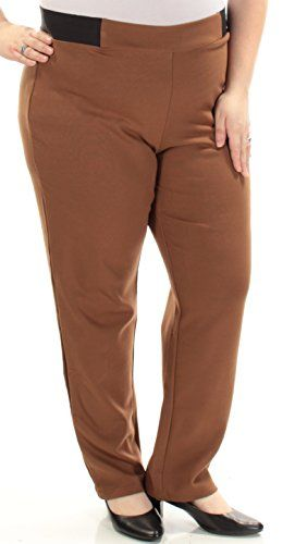 fda62bb95d45e JM Collection Womens New 1098 Brown Slimm Leg Wear to Work Pants XXL ...
