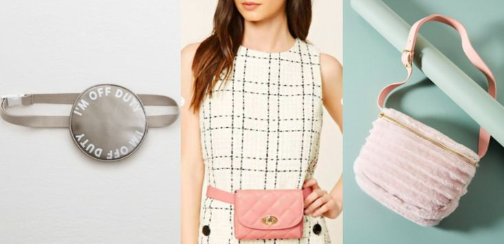 "More affordable fanny packs, from left-to-right: a metallic muted silver round fanny pack from Aerie that says ""I'm off duty,"" a small quilted pink belt bag from Forever 21, and a pink soft Shearling fur waist bag from Anthropologie."