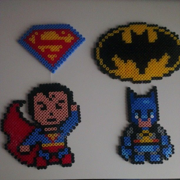 Superman and Batman perler beads by kaleidoscope__colors