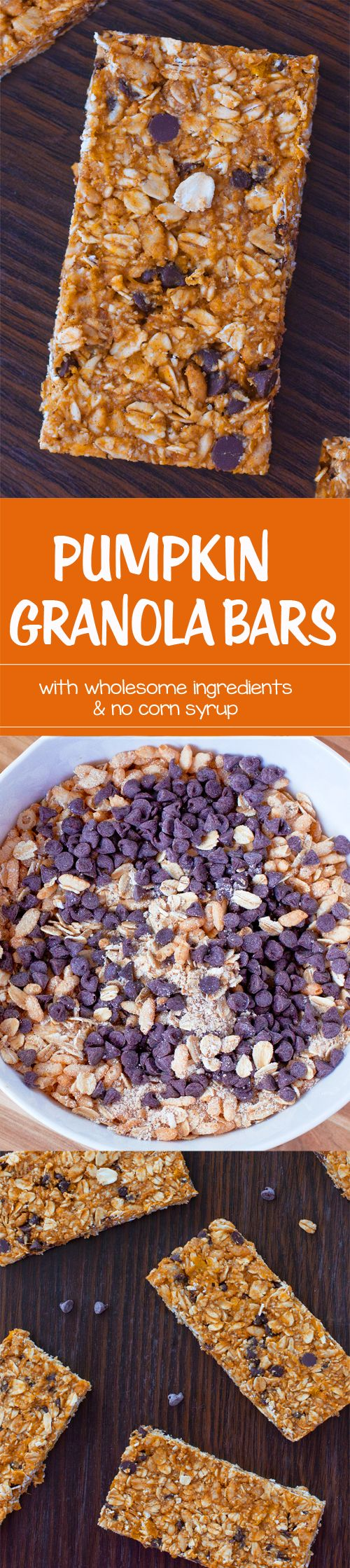 Soft & chewy pumpkin granola bars – with wholesome ingredients you can actually pronounce. Full recipe: http://chocolatecoveredkatie.com/2016/10/17/pumpkin-granola-bars-recipe/