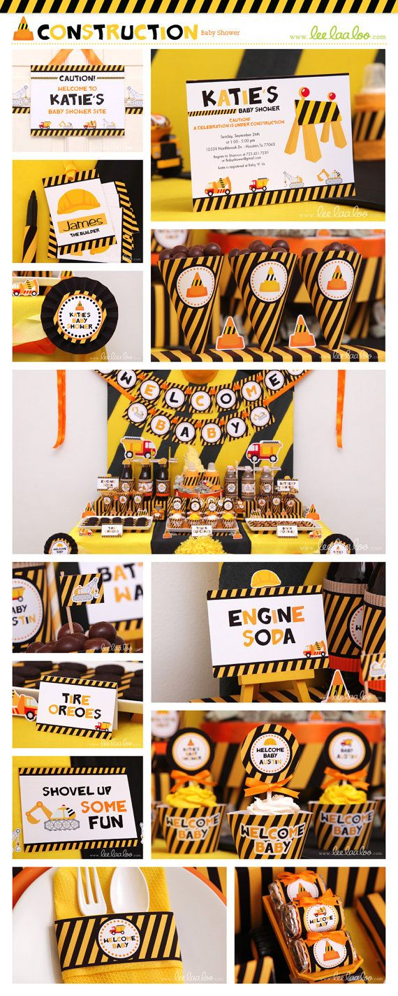 ••• Construction Baby Shower Party Theme •••  Shop Them Here:  https://www.etsy.com/shop/LeeLaaLoo/search?search_query=s20order=date_descview_type=galleryref=shop_search  ♥♥♥ Vendor Credits:  ♥ Party Styling: LeeLaaLoo - www.leelaaloo.com  ♥ Party Printable Design  Decoration: LeeLaaLoo - www.etsy.com/shop/leelaaloo  Our YouTube channel for some DIY tutorials here: http://www.youtube.com/leelaaloopartyideas