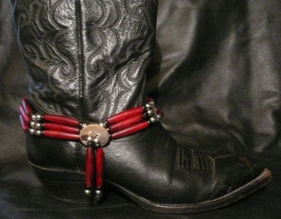 Native American inspired HAIRPIPE BOOT CHOKER are hand-crafted in the USA . 3 strand Red Horn hairpipe with Black glass mini crow beads, silver