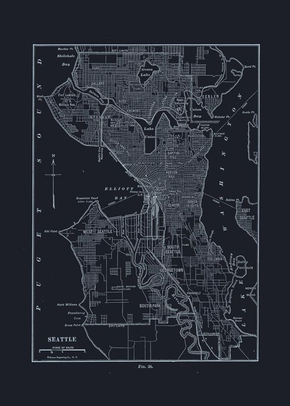 55 best blueprint maps images on pinterest antique maps old seattle map poster blueprint map of seattle vintage map office wall art professional reproduction malvernweather Images