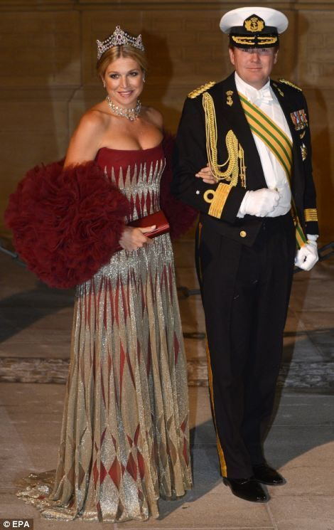 A glittering array of European royalty attended a gala dinner in the couples honour. Left, Dutch Prince Willem-Alexander and Princess Maxima