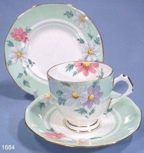 Plant Tuscan Hand-Painted & Enamelled Vintage Bone China Art Deco Tea Trio
