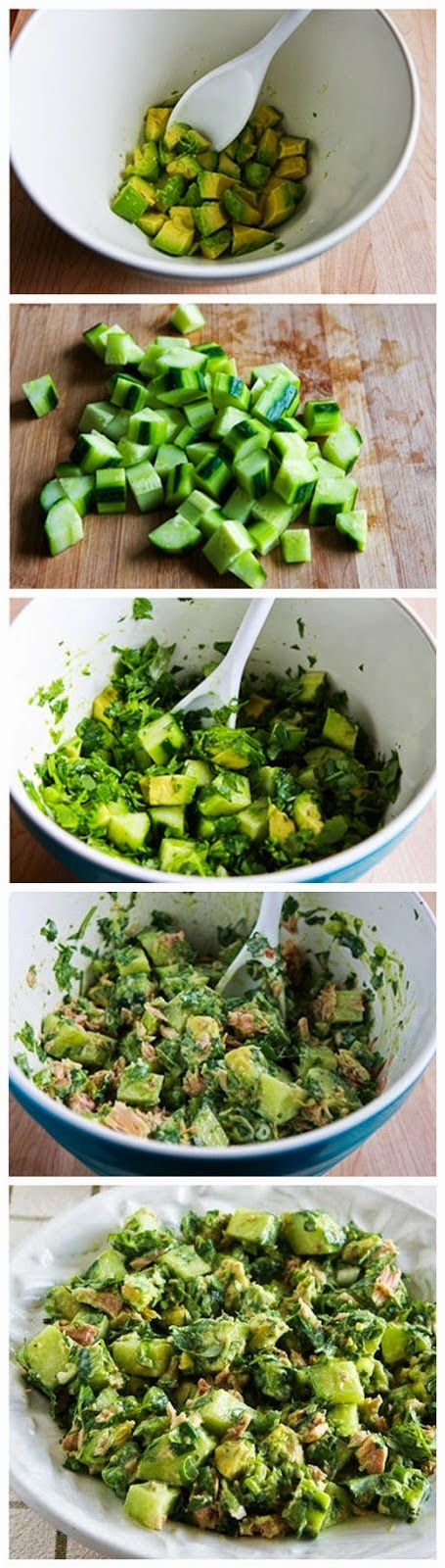 Cucumber Avocado Salad with Tuna, Cilantro, and Lime Replace tuna with chicken