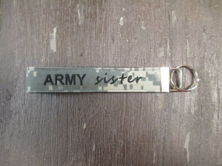 Army Sister Name Tape Key Chain, Army Sister Military Keychain, Army Sister Key Fob by MilitaryApparelCo on Etsy