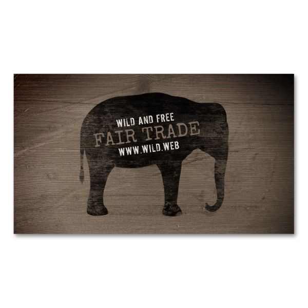Asian Elephant Silhouette Rustic Style Business Card Magnet Custom office supplies #business #logo #branding