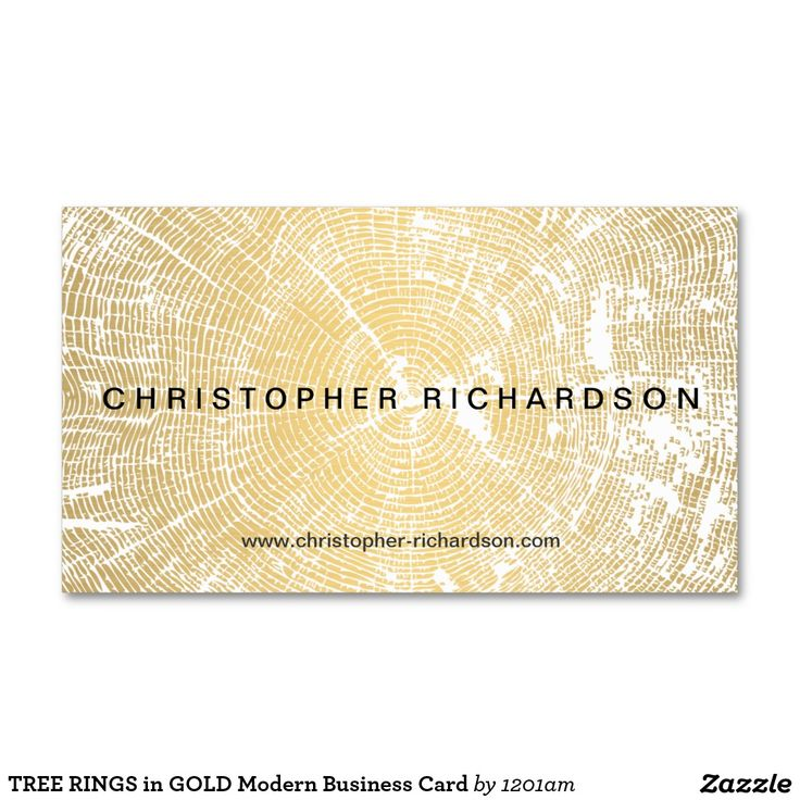 tree rings in gold modern business card