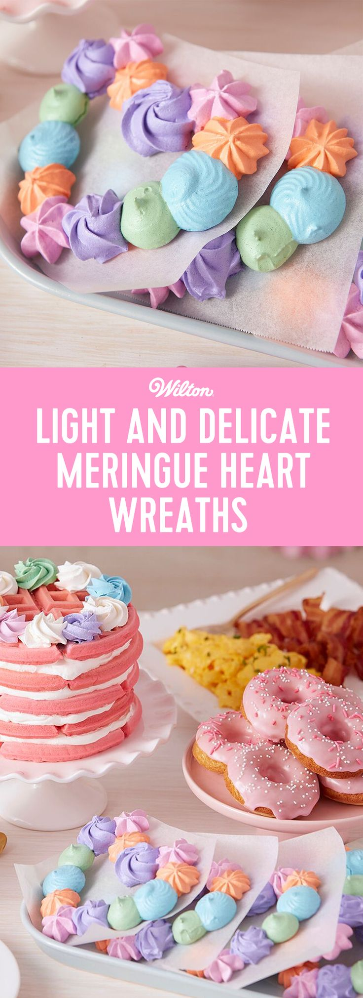 These Light and Delicate Meringue Heart Wreaths are a wonderful brunch dessert…they pair nicely with a cup of tea and they're a cute and fun way to celebrate your favorite gal pals! Made with a combination of decorating tips and icing colors, these cookies give you a little taste of something sweet without weighing you down. #wiltoncakes #meringues #meringuecookies #meringuewreath #valentinesday #valentines #galentines #cookies #cookieideas