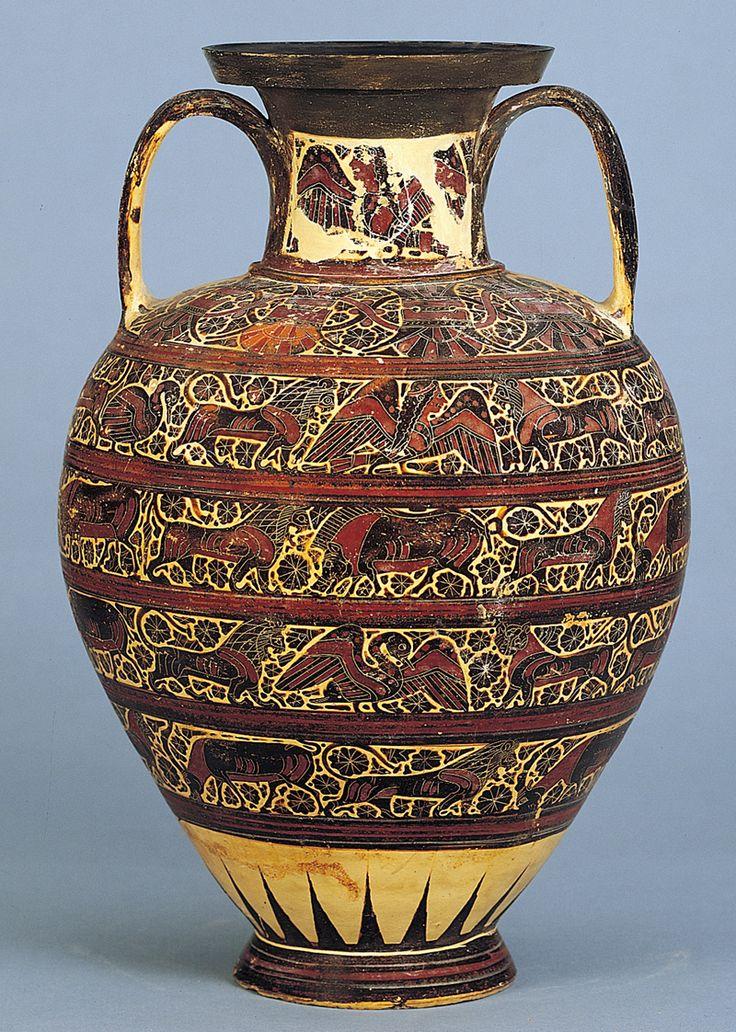 Amphora, Rhodes, c. 625-600 Orientalizing Ancient Greece Corinthian black-figure amphora with animal friezes
