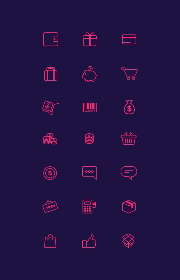 Have a look at all on http://graphicburger.com/   21 E-Commerce Icons