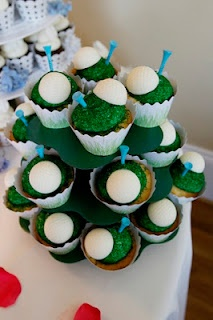 Grooms cake - Golf cupcakes! Top cupcakes with your choice of frosting and green sugar - then top with a white chocolate golfball (homemade with a plastic chocolate mold) and insert a colored golf tee.