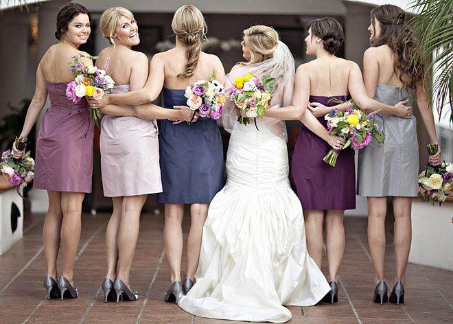 Платья для подружек невесты - одинаковые платья, разные цвета