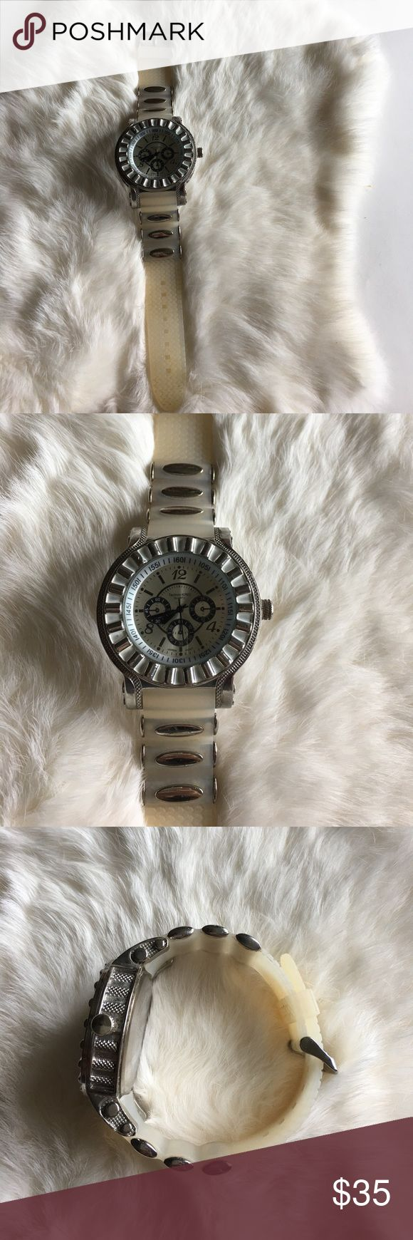 Just A Little Bling Do you love a little bling? This cream and silver Techno Pavé watch has large numbers on the face. Sports a rubber watch band. Stainless steel back. Quartz watch. Water resistant. EUC. Battery not included. Techno KING Accessories Watches