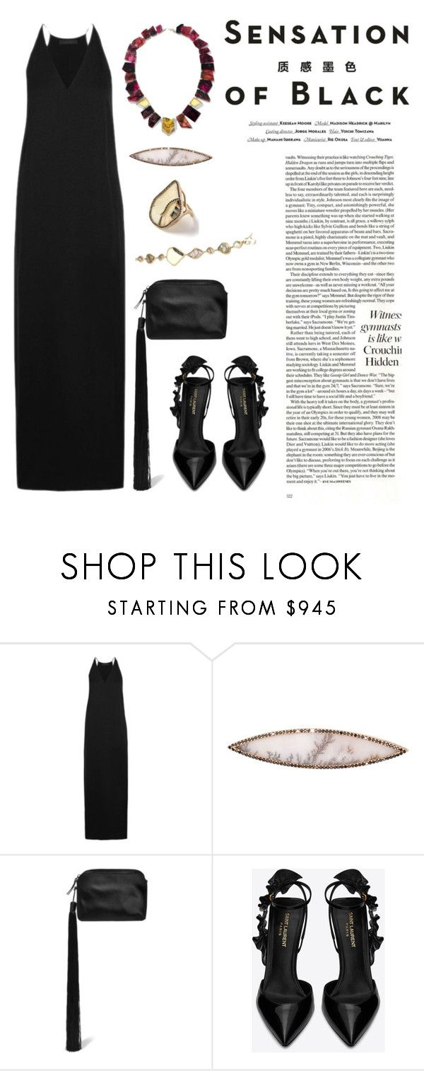 """""""Sensation of Black"""" by windrasiregar on Polyvore featuring Vision, The Row, Monique Péan and Yves Saint Laurent"""