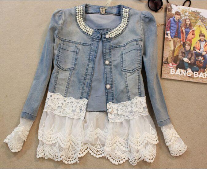 new 2014 spring women outerwear slim lace patchwork long-sleeve denim short jacket lady vintage jeans jacket Coat Free Shipping US $20.90